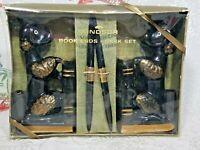 VTG MCM Windsor Poodle Bookend Desk Set Black Pens Gift Box Redware Pottery