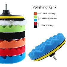 "7"" Polishing Sponge Waxing Buffing Pad Compound Auto Car Polisher Drill Kit 30mm"