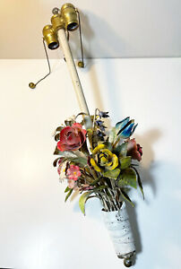 Vintage ITALY TOLE Floral Bouquet Painted METAL Hanging Light Fixture *read*