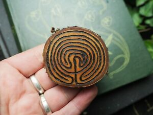 Wild Cherry Wood Labyrinth pocket amulet - Witchcraft, Wicca, Pagan, Meditation