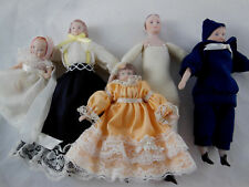 Reproduction Porcelain Dollhouse Dolls Family Victorian Style Made in Usa 1978