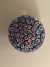 Baccarat Perthshire Millefiori Paperweight Blue Clear Vintage Estate