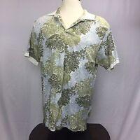 Caribbean Joe Aloha Hawaiian Shirt Men's XL Floral Green Blue