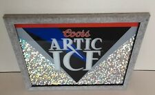 """1994 Coors Artic Ice Red Black Shimmer 16.5"""" x 13.5"""" Advertising Bar Mirror Sign"""