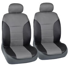 Faux Leather Car Seat Covers Front Black and Gray Two-Tone Leatherette Pair
