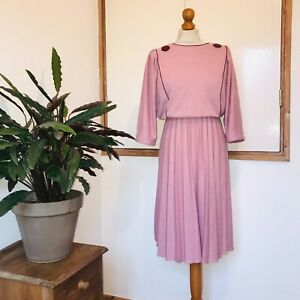 Vtg 80s Pink Burgundy Oversize Button Detail Pleated Batwing Sleeve Dress 12 14