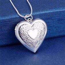 925 Silver Heart Photo Locket Pendant Chain Necklace *UK*