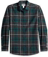 Essentials Men's Slim-Fit Long-Sleeve Plaid Flannel, Green, Size XX-Large