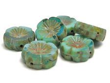 14mm Riviera Maya Picasso Czech Glass Table Cut Hawaiian Flower Beads (6) #5161