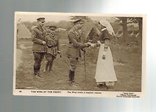 Mint WW 1 RPPC Postcard King George V England At Front with Army Nurse Daily Mai