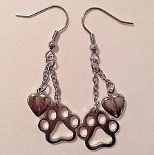 Paw Print Heart Earrings Stainless Steel Puppy Dog Cat Silver Dangle
