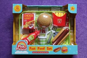 FAST FOOD BURGER / HOTDOG PLAY SET. SUITABLE FOR 3 YEARS & OVER