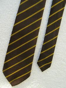 COLLEGE SCHOOL BROWN GOLD STRIPED  2.5 INCH tie NECKTIE