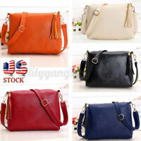 Women Leather Tassel Handbag Shoulder Messenger Crossbody Satchel Tote Bag