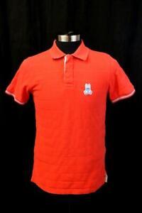 PSYCHO BUNNY 4 Bright Coral HANDLEY SPORT POLO Shirt Stripe Cuff Modern Mens S