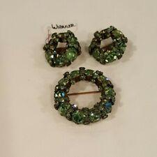 Vtg Warner Demi-Parure Green Brooch and Clip Earrings Circles Wreaths