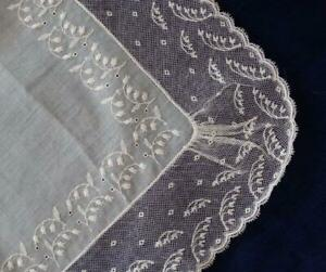 Vintage Linen Hanky Needle Run Lily of the Valley Net Lace Embroidered