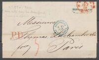 1872 Lettre de Hambourg pr Paris avec CAD Bleu Allemagne AVRNC. PARIS BLEU P3014