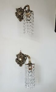 Wall Lights Down Lights Pair with Strings of Crystals Vintage Bohemian