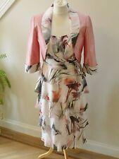 BNWT JOHN CHARLES Peach Floral Dress & Jacket size 10-FANTASTIC -RRP£860