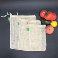 Ecology Reusable Bags Organic Cotton Mesh Grocery Shopping Produce Bags 3pcs