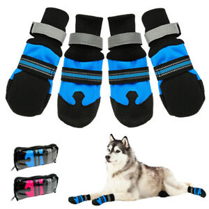 4pcs Waterproof Dog Shoes Reflective Dog Walking Boots for Medium Large Dogs Paw