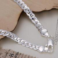 1pc Fashion 925 Silver Flat Snake Chain Bracelet Women Men Cool Jewelry Gift 5MM