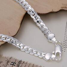 1pc Fashion 925 Silver Flat Snake Chain Bracelet Women Men Cool Jewelry Gift 5MM