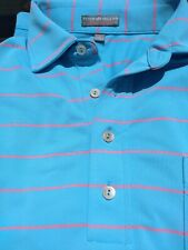 peter millar blue with red striped golf shirt