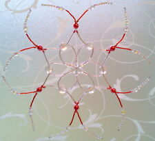 Christmas Beaded Large Snowflake Ornament In Rose Pink Pearl With Czech Beads