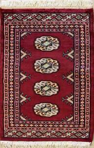 Rugstc 2x3  Bokhara Jaldar Red Area Rug,Genuine Hand-Knotted, Wool Pile