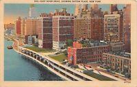 Vintage East River Drive Showing Sutton PLace New York  Linen Postcard 1944