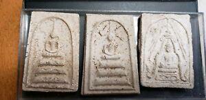 3 THAILAND BUDDHIST TEMPLE AMULETS