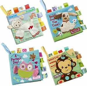 Soft Book Cloth Book Set 4 Pack Crinkle Book Educational Learning Toy for Infant