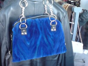 BAG-FROM-REAL-FUR-MINK -WITH-REAL-LEATHER-STRAP-AND-CHAIN SHIPPING 5-10 DAYS