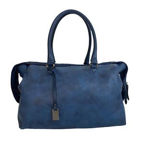 L.CREDI Ladies Womens Bag Navy Blue Bowler Studded Grab Handbag