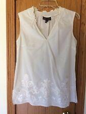 DANA BUCHMAN  Size S Cream Embroidered Sleeveless Cotton Top V-Neck Lightweight