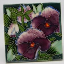"""Ceramic Tile Pansy 4x4"""" Multi-Color Floral Art Hand Painted Wall Decor"""