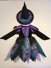 TU - Witch Halloween Fancy Dress Costume Dress & Hat - Girl - Age 3-5 Years