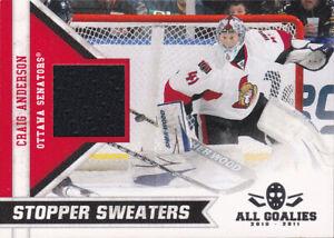 2010-11 Panini All Goalies Stopper Sweaters Craig Anderson Senators Game Worn