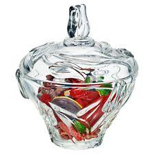 Large Flower Design Cut Glass Candy Jar Sweets Dish Bonbon Sugar Bowl with Lid