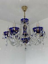 Bohemia Kristall Kronleuchter,in Farben GOLD blau 40cm