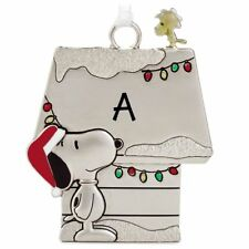 """Snoopy Christmas Peanuts Hallmark Initial Ornament Silver Letter """"V"""" Personal"""