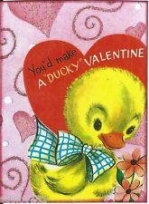 ACEO ATC Art Collage Print Valentine Valentines Day Duck Bow Red Heart Be Mine