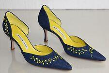 Nuevo Manolo Blahnik BB Mimo Denim Azul Amarillo Mimosa Dorsay Zapatos 37 Raro