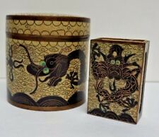Antique Chinese Enamel Cigarette Box Canister Cloisonne Match Holder Dragon