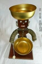 Vintage Folk Art Bottle Caps & Wood Figure with 2 Bowls
