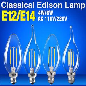 e14/e12 flame/candle shape 4w/8w led bulb classic glass chandelier lights 1E24