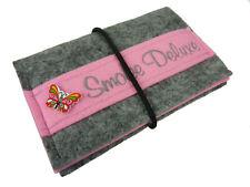 Tabaktasche handmade Damen Herren Tabakbeutel Filz bestickt grau/rosa Geschenk