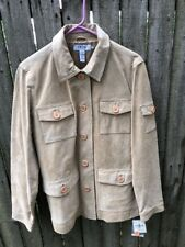 NWT Womens Size Medium IZOD Tan Suede Leather Button Down Jacket Coat Pockets!